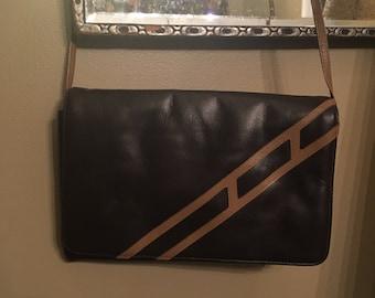 Vintage Brown Stripe Leather Pocketbook