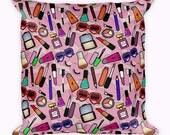 Makeup pillow Lipstick pillow Heart pillow Makeup decor pillow Gift for her Makeup lover gift Kitsch decor Pink pillow Gift ideas