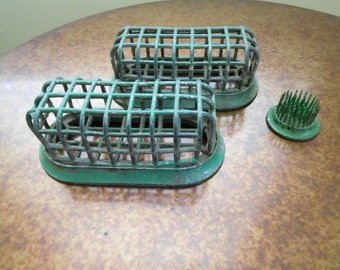 Vintage Dazey Caged Flower Frog Holders.  Two oval #74 and a small round flower arranger