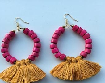 Chunky Pink Tassel Earrings