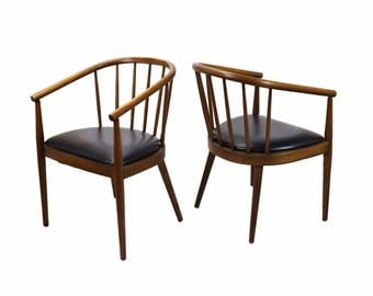 Pair Mid Century Bentwood Armchairs Lawrence Peabody For Richardson  Nemschoff