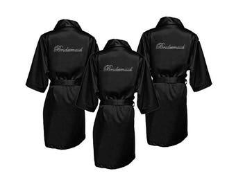 Rhinestone Robes - Rhinestone Bridesmaid Robes - Bling Robes - Satin Robes - Bridesmaid Gifts - Navy Bridesmaid Robes