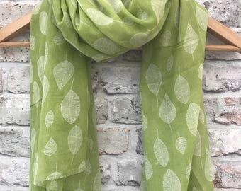 Women's scarf, lime green leaf scarf, lime green, green leaves, leaf print, leaves print, birthday gift, skeleton leaf print, spring, autumn