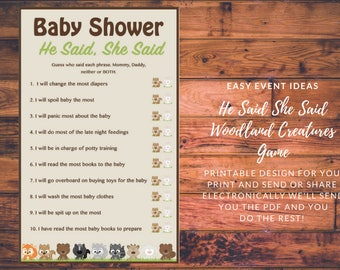 Printable Woodland Creatures Baby Shower He Said She Said Game