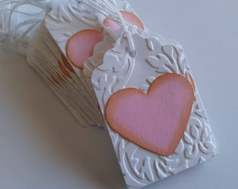 Heart gift tags, Heart tags, White embossed gift tags, Wedding tags, set of 15