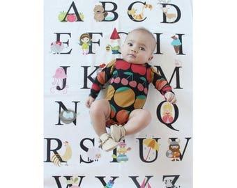 SALE ABC Alphabet Blanket Swaddle Receiving Blanket Baby Shower Gift Baptism Gift