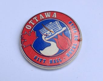 Vintage Ottawa City Hall Building Pin - Hotel de Ville Bilingual Button - City of Ottawa Architecture History