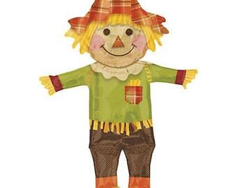 Scarecrow balloon. 38 inch scarecrow balloon. autumn balloons. fall balloons. hayride decor. fall decor. fall party supplies. halloween
