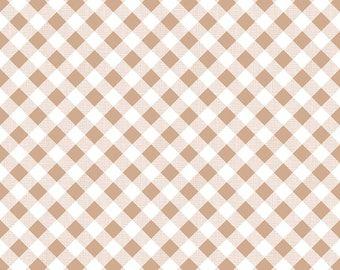 1/2 yd Sew Cherry 2 Gingham Fabric by Lori Holt for Riley Blake C5808 Nutmeg