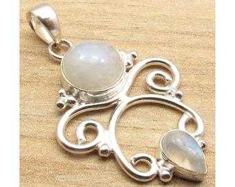 Rainbow Moonstone Pendant-925 Sterling Silver Pendant grey Moonstone