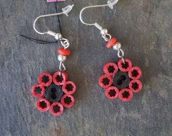 Red electric wire earrings