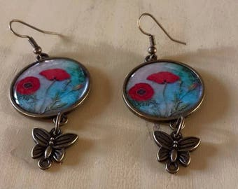 Poppy themed earrings