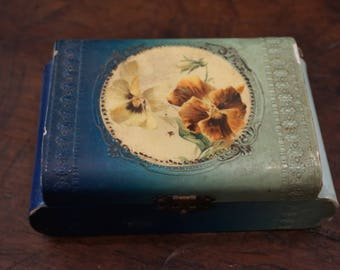 Antique Celluloid Jewelry Box with Pansies/ Victorian Jewelry Box/ Edwardian Jewelry Box/ Shabby Chic/ Collectible Celluloid/ Wedding Decor