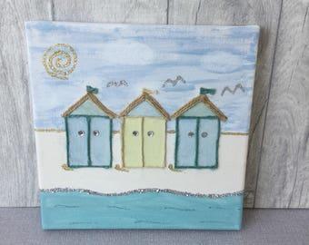 Coastal Beach Hut Handpainted Canvas