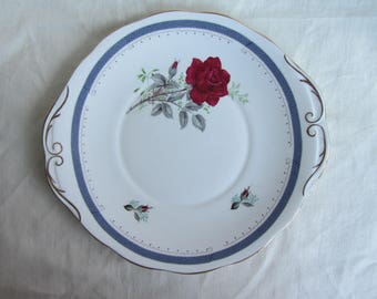 Pretty vintage  cake plate, Royal Stafford Roses to Remember, red roses, tea party, bridal shower, English china plate for tea party