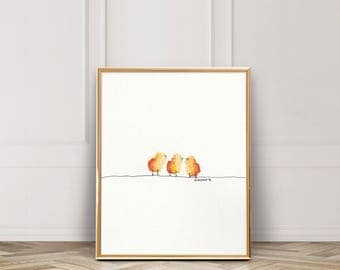 Sweet Bird Trio / Fluffy Little Orange Birds/ Birds on a Line / Watercolor / UNFRAMED Art Print / 8.5 x 11 in / 11 x 15 in