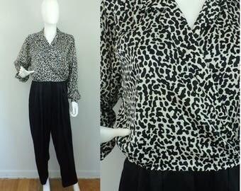 Animal Print Jumpsuit, 80s Liz Claiborne Black & Cheetah Pants Women's Romper, Jumpsuit Size 6,Animal Print Jumpsuit, Pants Dressy Jumpsuit