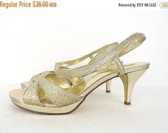 25%OFF-July 22-25 Vintage Nina gold sparkly heels size 8, fancy heels, sparkly heels, sparkles, Nina heels, gold heels, evening heels, strap