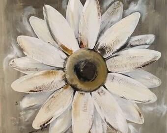 Daisy Painting on a Wood Panel Original Flower Art Distressed