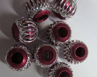 Silver filigree 8 mm red plastic bead