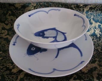 Chinese Blue Cobalt Koi Fish Bowl and Dish Set Excellent Details Hand Painted Vtg Chinese Markings