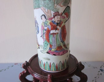 Chinese Antique Porcelain Hat Stand Vase Outstanding Hand Painted Details 3 Wize Men  19th/20th Century Red  Antique  Mfg Markings