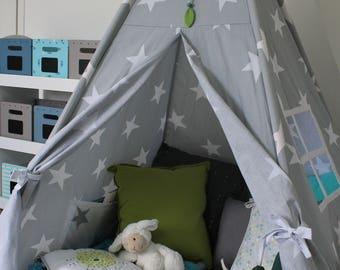 Tipi, jouer tente tipi confortable gris étoiles, étoiles enfants à tipi jouer en gris de tente, tipi pour enfants, tente tipi, chambre d'enfant playhouse, tipi gris
