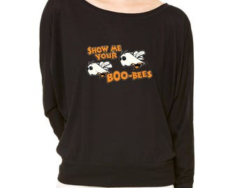 Flowy Shirt Show Me Your Boo Bees Long-Sleeve Funny Halloween Flowy Shirt