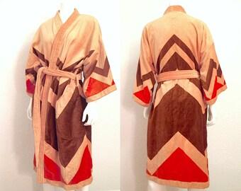Vintage Bath Robe / 1970s Robe / 70s Robe / Lounge Wear / Funky Robe / Chevron Robe / Orange Robe / One Size Fits All / New Old Stock NOS