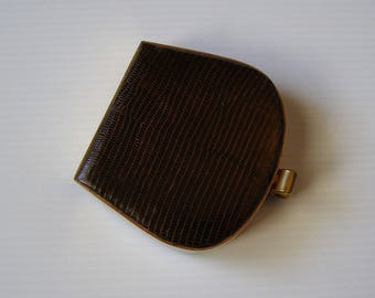 Powder compact Made in France/compact leather reptile/compact/antiquityfrench/30s