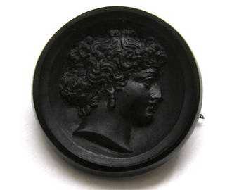 Brooch vintage jewelry/Black Glass cameo Jet/jewelry of mourning nineteenth century 1900 /Broche