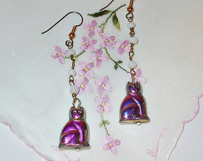 Vintage 90s Chandelier Flapper Style Purple White Cat Kitten Kitty Old Czech Glass Bead Handmade Dangle Earrings