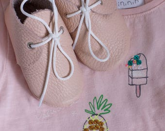 SALE!!! Pale pink mocs with shoelaces