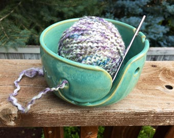 Seconds - Wheel-Thrown, Spiral Design, Hand-Carved, Turquoise Yarn Bowl