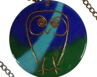 1950s Mid-Century Studio Modernist Enamel On Copper Owl Pendant