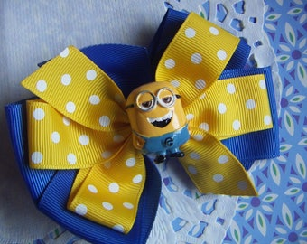 "NEW Girls Hair Bow 4"" Wide Minions Despicable Yellow & Blue Alligator Clip Only"