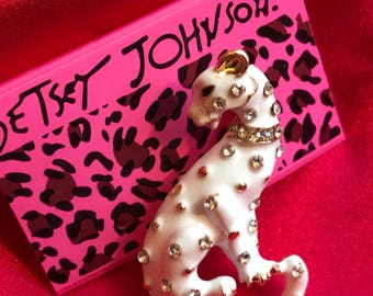 White Leopard Clear Crystal Rhinestones  Brooch with Gold Gift Box