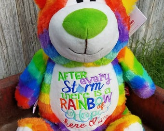 Rainbow baby gifts, rainbow baby, personalized rainbow baby gift, cubbie, stuffed animal, rainbow bear, colorful bear, baby gift,custom gift