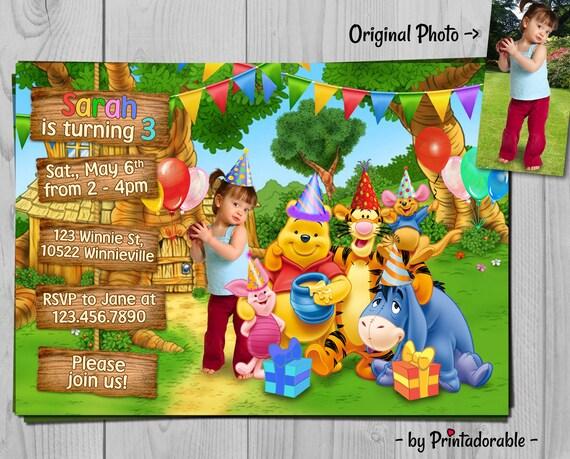 Winnie the Pooh Invitation - Winnie Invite - Pooh Birthday Party - Baby Disney Party Printables