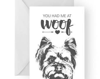 Yorkshire anniversary card- birthday card, love card, dog birthday card, yorkie anniversary, yorkshire terrier card, yorkshire greeting card