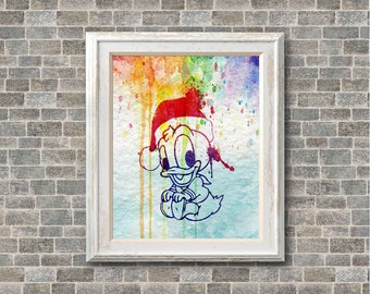"Donald duck Baby Christmas watercolor Murals ,8""x10""  JPEG & PDF file , Inspirational Quote,Digital Prints,Wall Art Prints"