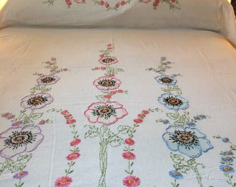 Vintage Embroidered Bed Coverlet