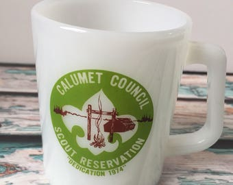 Vintage Calumet Council Scout Reservation BSA Boy Scout Federal Milk Glass Mug