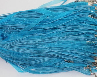 3 organza and turquoise blue color cotton twist