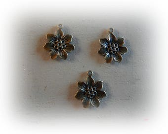 3 charms bronze metal flower 22 mm