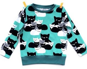9-12m Teal Cat Print Sweater, Unisex Kids Top, Toddler Sweater, Toddler Tee, Organic Cotton Tee, Unisex Kids Top, Baby Sweater, Unisex Baby