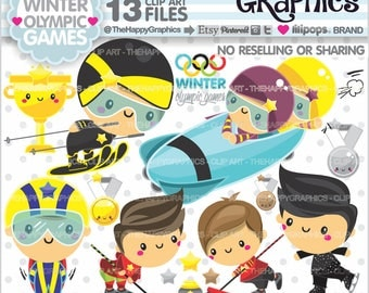 Winter Clipart, 80%OFF, Winter Graphic, COMMERCIAL USE, Winter Olympic Games, Sport Clipart, Olympic Games, Ice Sport, Snow Sport, Skiing