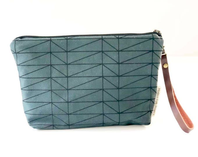 New!  Modern Architectural Waxed Canvas Clutch Wristlet with Leather Strap