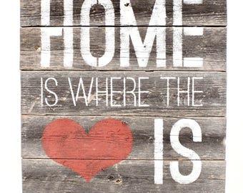 "BarnwoodUSA Rustic Farmhouse Sign ""home is where the heart is"""