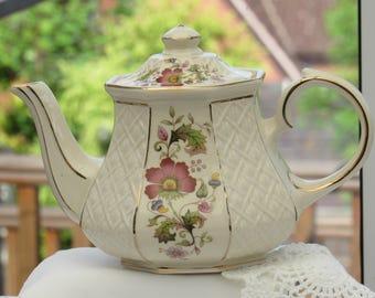 Sadler Teapot, Vintage Teapot, Floral Teapot, Trellis Teapot, 1950's Pottery, Made In England